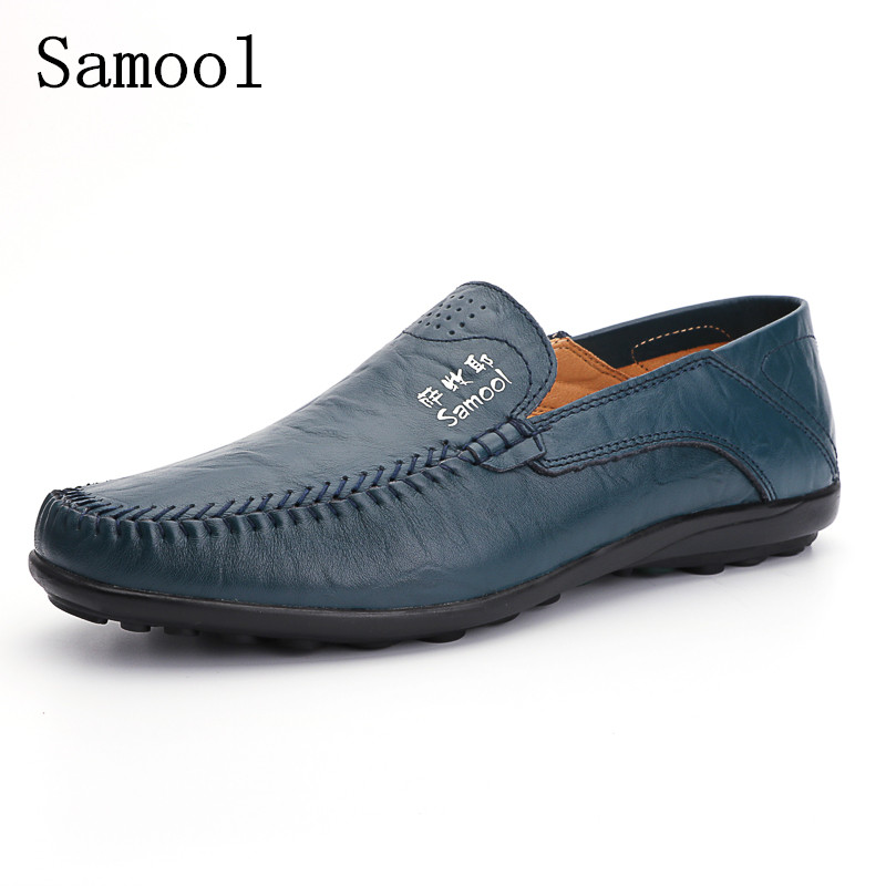 Fall High Quality Genuine Leather Casual Men Shoes Soft Moccasins Loafers Men Flats Comfortable Driving Shoes Big Size 37-47