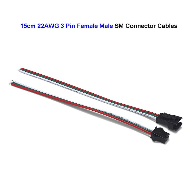 3 Pin Female Male SM JST Connector Cable 22AWG 0.3mm Extension Wires Cord For WS2811 WS2812B LED Rigid Strip Lights Driver