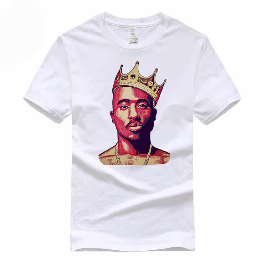 Для мужчин 2PAC Принт футболки хип хоп Swag King Тупак Амару Шакур хлопковые футболки maveli Дизайн топы корректирующие футболка евроразмер, GMT007