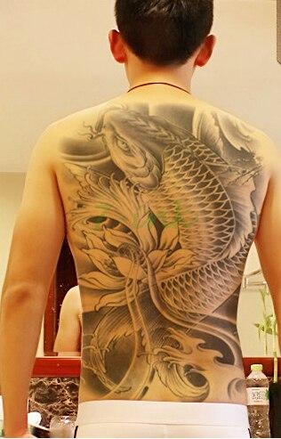 Us 424 Wodoodporna Tymczasowa Naklejka Tatuaż Czarny Z Rybą Koi Jego Lotos Duży Całe Plecy Tatuaże Transferu Wody Fałszywe Flash Tatuaż Dla Kobiet