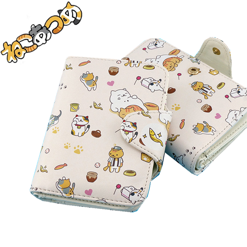 High Quality Anime Neko Atsume Kawaii Cat Gift Women Wallet Fahion Men short Purse Pu Leather Printing Female Card Holder kitty cat backyard neko atsume backpack comic periphery dual portable canvas shoulders bag cartoon accessory kids anime gift
