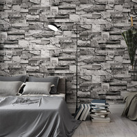 Chinese Style Retro Wallpaper 3D Stereo Embossed Brick Stone Wallpaper Living Room Sofa TV Backdrop Wall