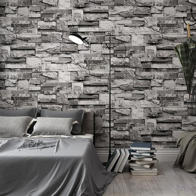 3D Embossed Wall Brick Wallpaper Vintage Grey Stone Brick Wall Paper ...