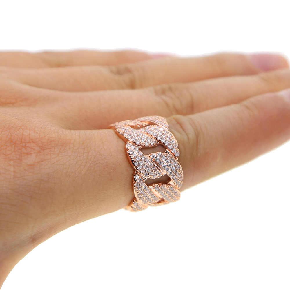 เย็น Mens Hip Hop Zircon Gold แหวนเงินสี Hip hop สไตล์ทองแดง Bling AAA CZ Cuban แหวนผู้ชายแฟชั่น punk เครื่องประดับ elegant