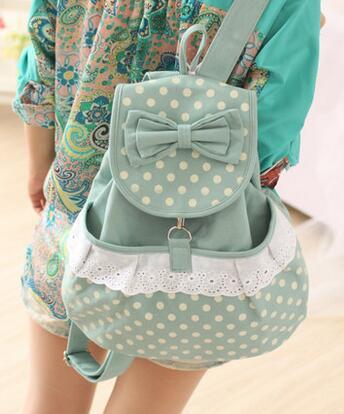 New 2016 Hot Sale Casual Canvas Dot Backpack Style Cute Bag School Backpacks Teenage Girls Canvas Fresh Satchel Bagpack