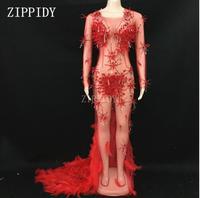 3 цвета на день рождения, празднование, платье из сетчатой ткани с кристаллами, Прозрачное платье с перьями и шлейфом, роскошное вечернее пла