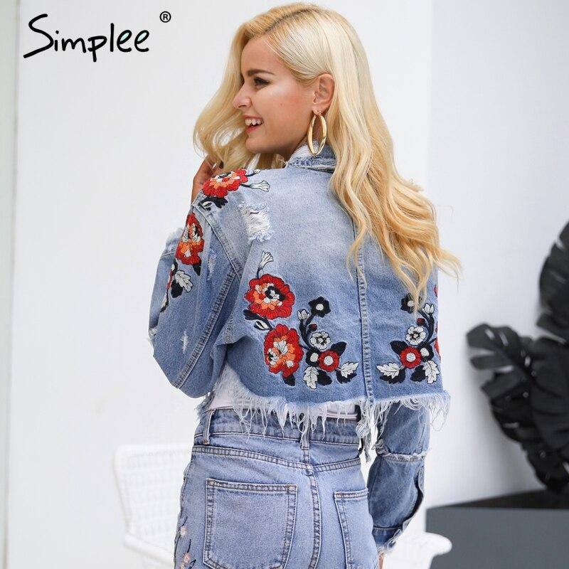 Simplee Flower Embroidery Denim Jacket Coat Women Vintage