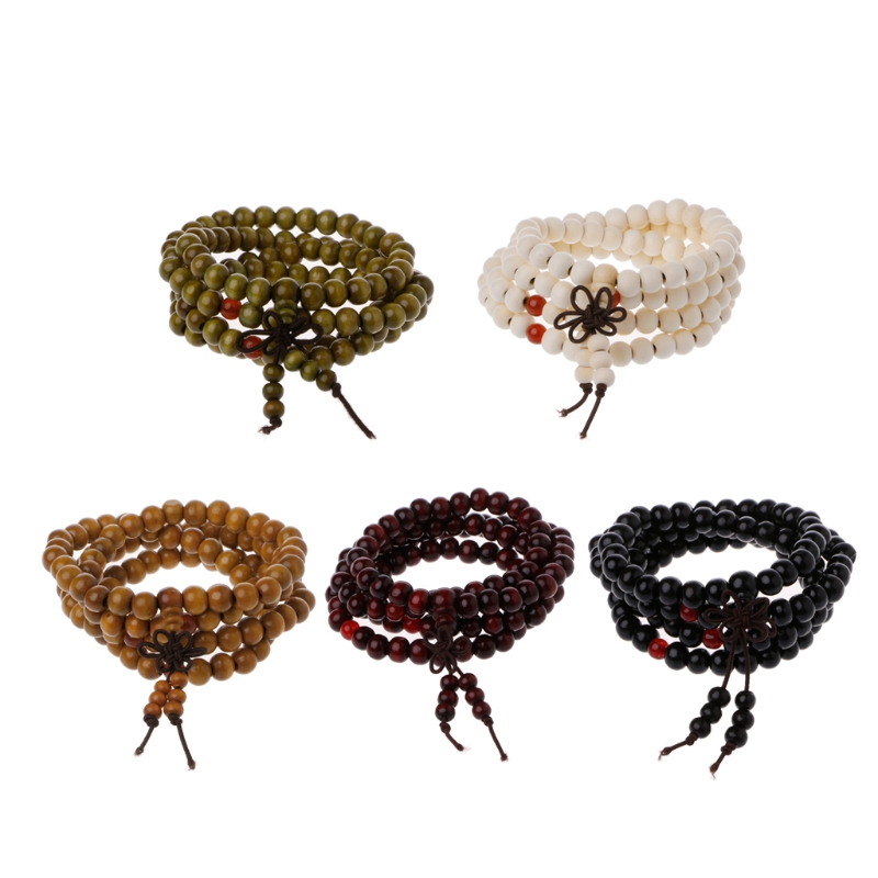 Natural Sandalwood 8mm Beads Bracelets 108 Wood Beads Buddha Prayer Jewelry