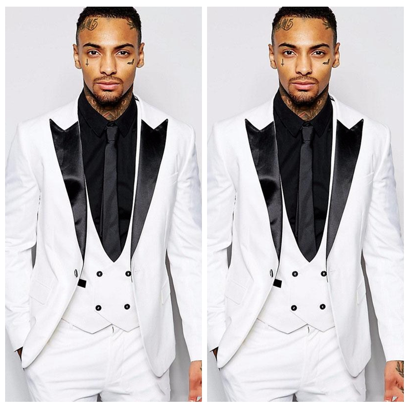 2019 One Button Trim Fit Wedding Groom Tuxedos With Black Peaked Lapel Three Piece Suit for Men White( Jacket +Pants Vest)