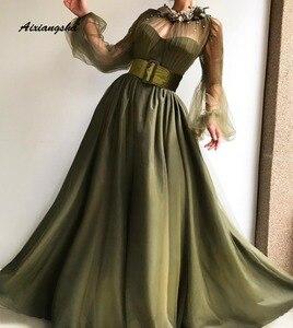 Женское вечернее платье с круглым вырезом De Soiree, темно-зеленое ТРАПЕЦИЕВИДНОЕ длинное фатиновое торжественное платье, вечернее платье, 2019