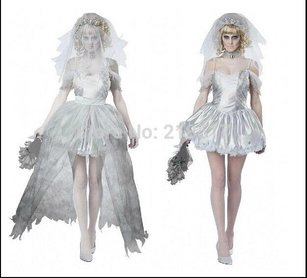 7db9e6b4b9 M-XXL mujeres vampiro Zombie vestido decadente oscuro fantasma novia estilo sexy  disfraces de Halloween