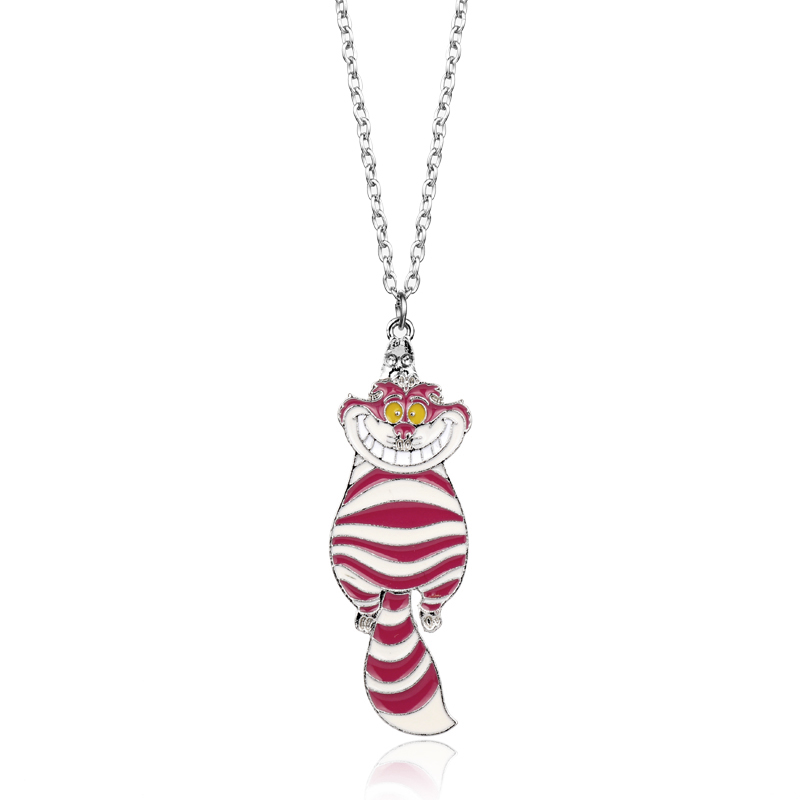 dongsheng Alice In The Wonderland Necklace Pink Cat Smile Face Pendant Necklace Chain Charm Jewelry For Girls Gift -30