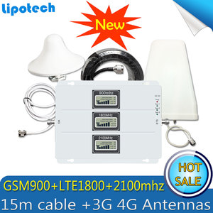 Image 1 - 2 グラム 3 グラム 4 グラム GSM リピータ 900 1800 2100 トライバンドの Gsm 900 DCS 1800 WCDMA 2100 携帯電話の信号ブースター Celular アンプ 4 グラムアンテナ