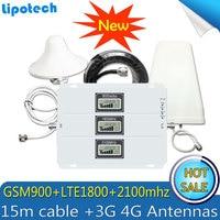 2G 3G 4G GSM Repeater 900 1800 2100 Tri Band GSM 900 DCS 1800 WCDMA 2100 Cell Phone Signal Booster Celular Amplifier 4G Antenna