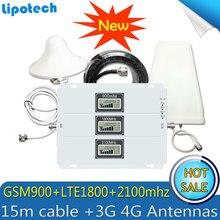 2G 3G 4G GSM Repetidor 900 1800 2100 Tri Band GSM 900 DCS 1800 WCDMA 2100 telefone celular Amplificador De Sinal Celular Amplificador 4G Antena