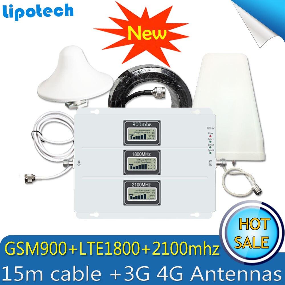 2G 3G 4g GSM repetidor 2100 2100 1800 Tri-Band GSM 900 DCS 1800 WCDMA 900 teléfono móvil amplificador de señal Celular antena 4G