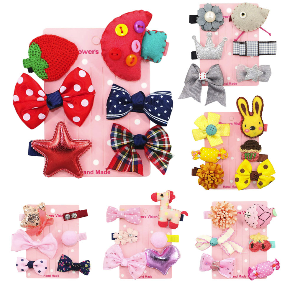 Lovely 6Pcs Kids Infant Baby Girl head band Hair Clip Bow Flower Cartoon Hairclip Hairpin Set hair accessories 2pcs bowknot girl kids mini hair clip hairgrip satin hair ribbon bows hairpin accessories for girls hair clips hairclip barrette