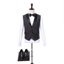 Черный мужской костюм жилетки шаль отворот без рукавов V шеи мода Slim Fit свадебный жених жилет  Лучший!