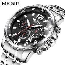 MEGIR Luxury Business Wrist Watch Men Brand Stainless Steel Chronograph Quartz Mens Watches Clock Hour Time Relogio Masculino