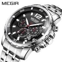 Megir relógio de pulso de negócios de luxo dos homens marca aço inoxidável cronógrafo relógios de quartzo relógio de hora relogio masculino|Relógios de quartzo| |  -