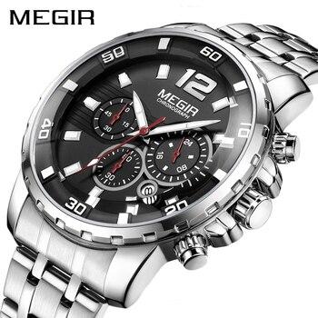 3c8df3326d04 Reloj MEGIR de lujo de reloj de pulsera de la marca de los hombres de acero  inoxidable cronógrafo de cuarzo relojes para hombre reloj hora reloj  Masculino