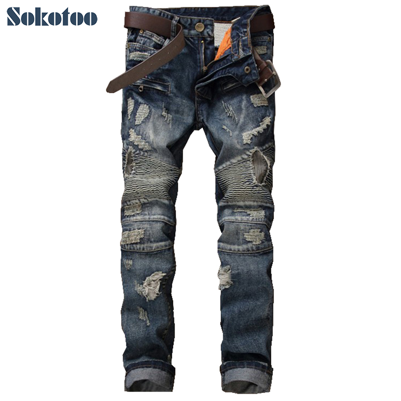 Sokotoo Men's fashion vintage patch holes ripped biker jeans for moto Casual patchwork slim straight denim pants Long trousers 2017 new men s fashion vintage zipper patch hole ripped biker jeans slim straight stretch denim pants long trousers