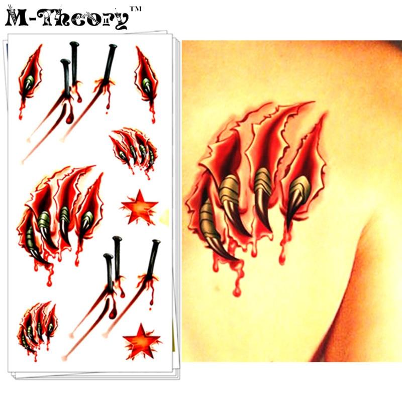La Teoría M Temporal Maquillaje 3D Tatuajes Cuerpo Arte Sangrado Cicatrices Flas