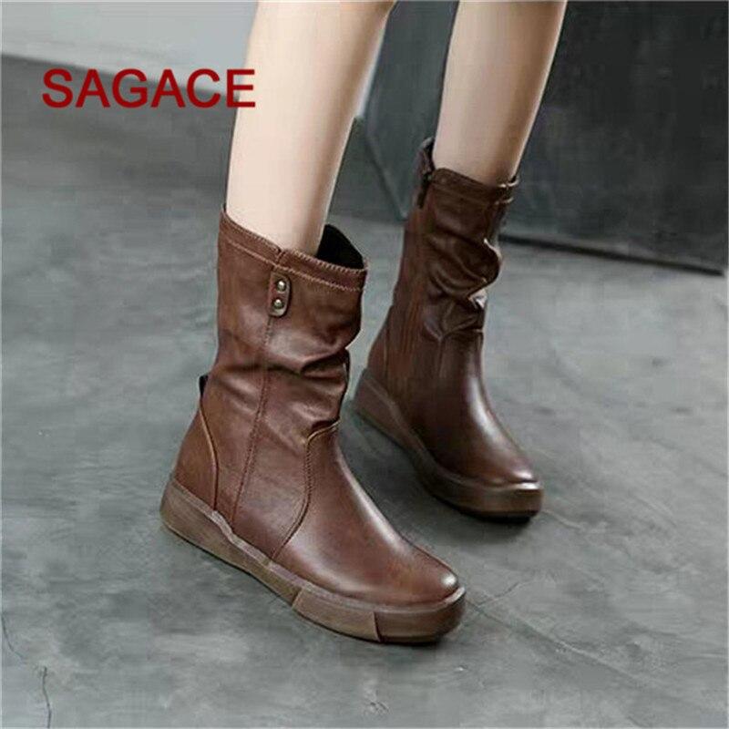 Bottes Plat Bas Cuir Femmes Martin Sagsace Zipper Casual Chaussures Tube brown Black En Moyen qwagnt