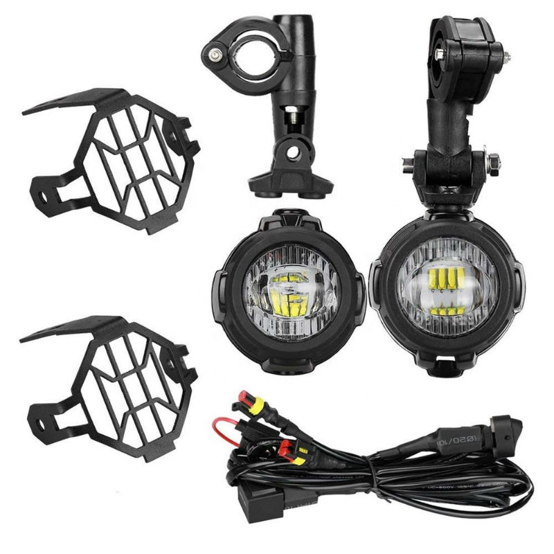 40W Universal Motorcycle LED Auxiliary Light with Protect Guard Bumper LED Driving Fog Passing Lamp for