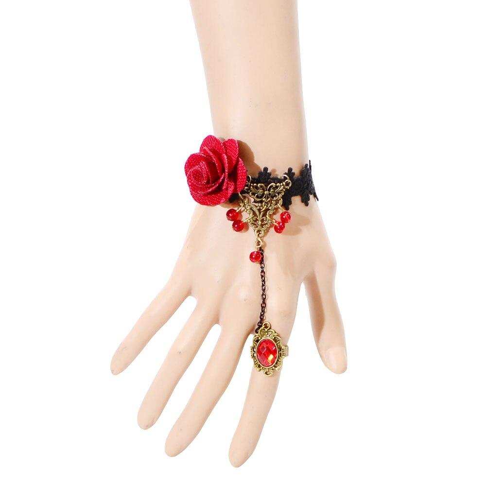 Wemen hot selling charm fashion Retro Vintage Lady Handmade Jewelry Gothic Lace Flower Finger Bracelet