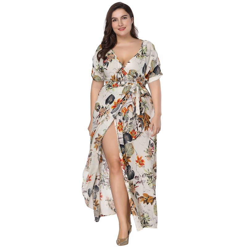 Plus Size Floral Print Boho Dress 2019 Fashion Women Summer Short Sleeve V Neck Wrap Dress Split Sexy Beach XL to 7XL Dress