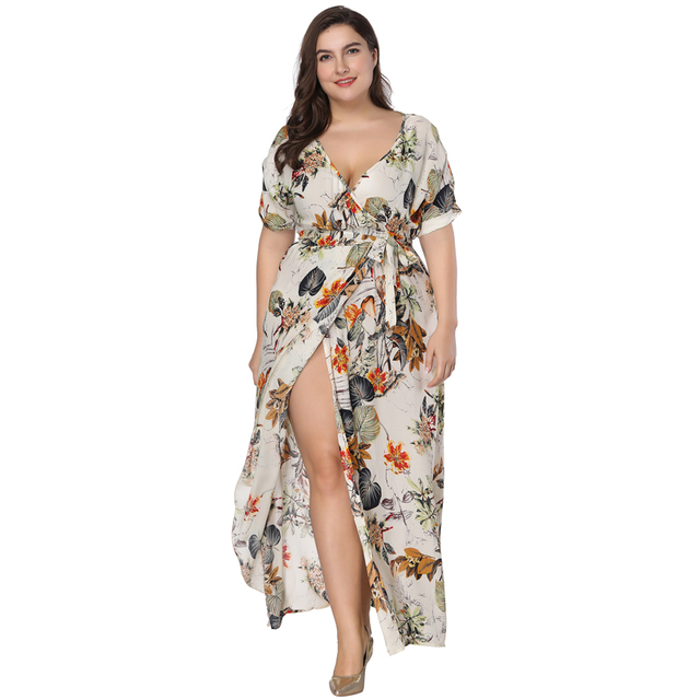 f9e076a65c8a3 US $29.66 |Plus Size Floral Print Boho Dress 2018 Fashion Women Summer  Short Sleeve V Neck Wrap Dress Split Sexy Beach XL to 7XL Dress-in Dresses  from ...