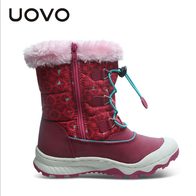New 2018 Children Ankle Plush Boots For Girls Flat With Rubber Snow Boots Waterproof Winter Warm Girls Boots Non-slip Shoes