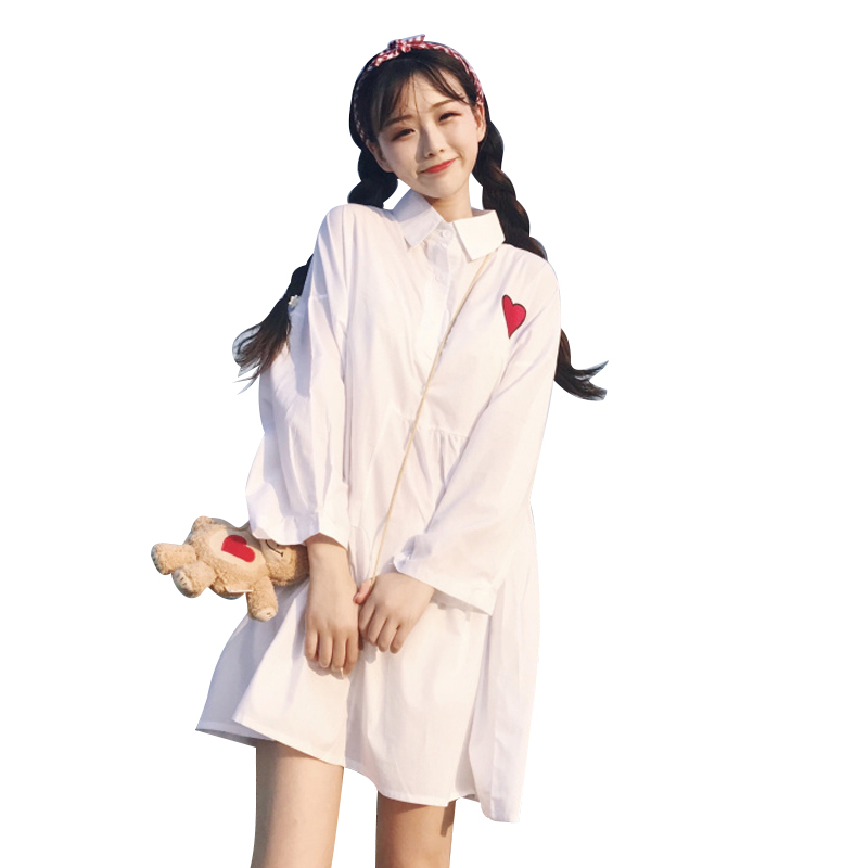 Japanese Fashion Preppy Love Embroidery Dress Harajuku Peter Pan Collar Lolita Dress A-line Bow Cotton Dress Pink For Ladies