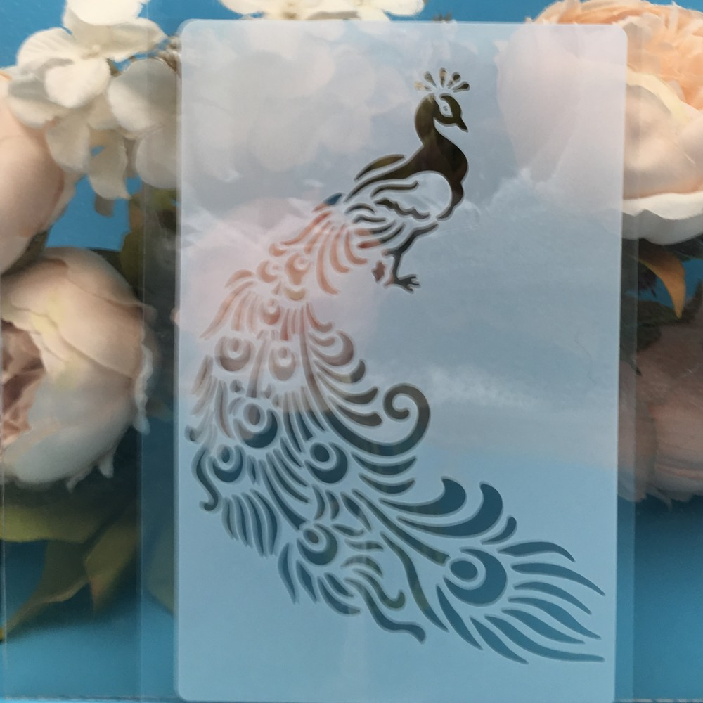 A5 Peacock DIY Layering Stencils Wall Painting Scrapbook Coloring Embossing Album Decorative Card Template
