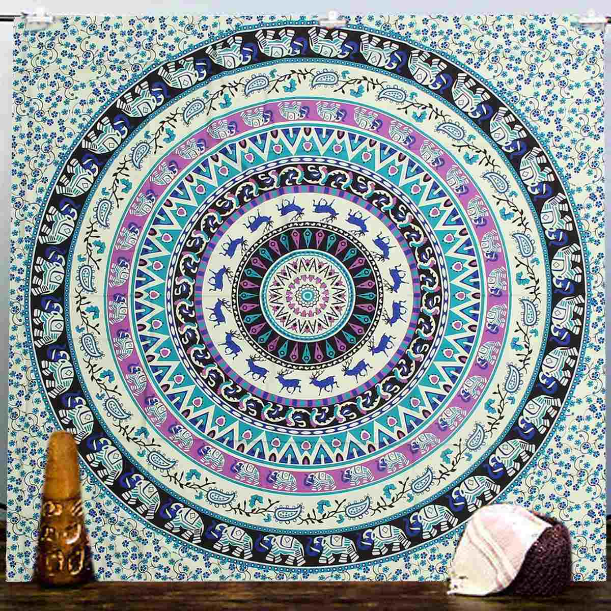 Indian table decorations - Beach Towel Wall Hanging Tapestries Indian Mandala Tapestry Boho Bedspread Yoga Mat Blanket Table Cloth Home Decoration