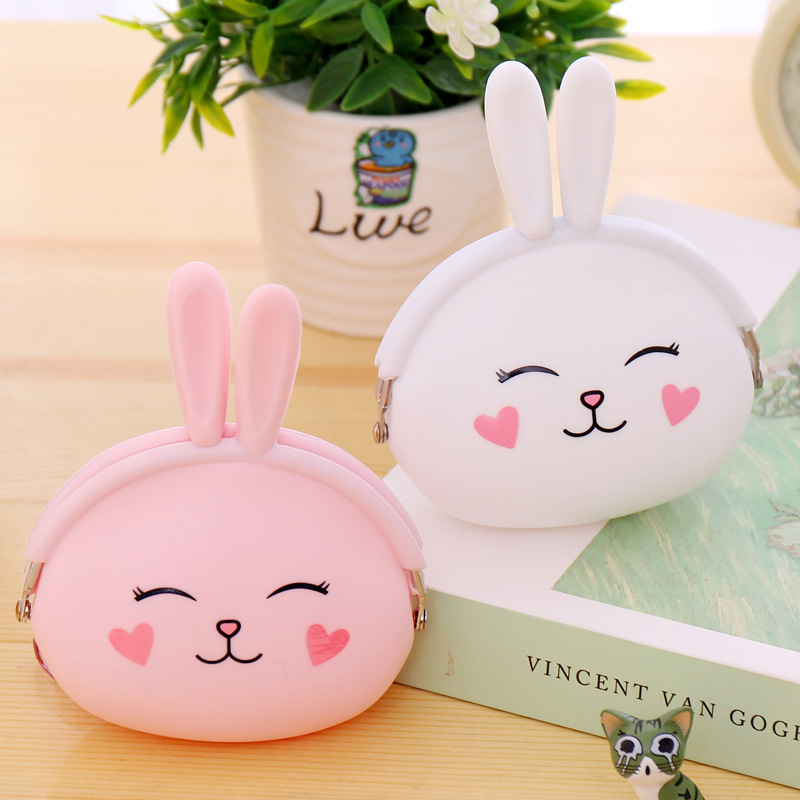 Women Key Wallets Cartoon Rabbit Animal Candy Colored Girls Coin Children Cute Cartoon Mini Coin Purse for Earphone Headphone