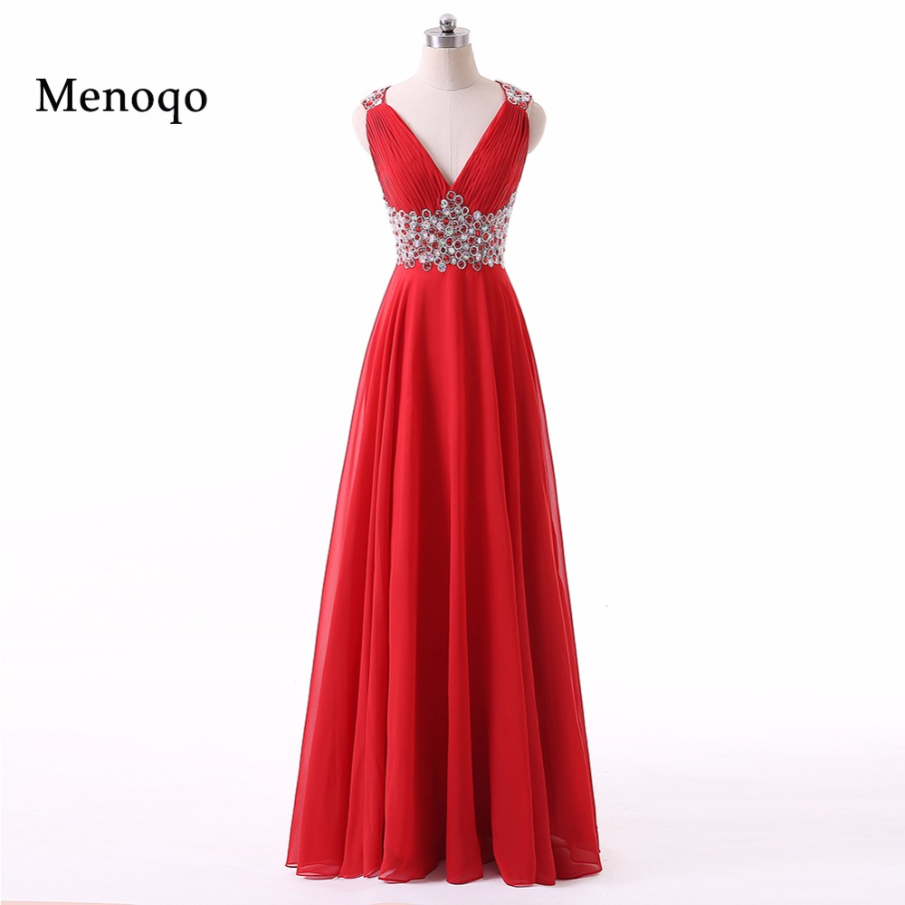 Red robe de bal Long   Prom     Dresses   For Graduation V-neck vestido de noche robe de soiree longue 2018 Formal Evening Party Gowns
