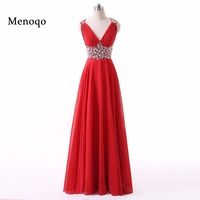 Red Robe De Bal Long Prom Dresses For Graduation V Neck Vestido De Noche Robe De
