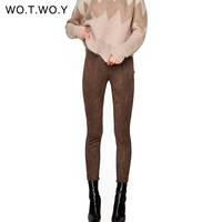 WOTWOY Vintage Suede Leather Women Pants Zippers Stretch PU Leather Pencil Pants Women Casual Skinny Trousers
