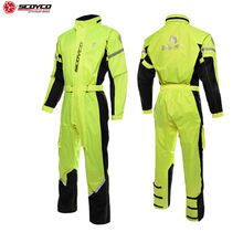 SCOYCO 21 One Piece Motorcycle Rider Raincoat Hat Reflective Adjustable Motocross Raincoat Suits Touring Ventilate Raincoat RC03