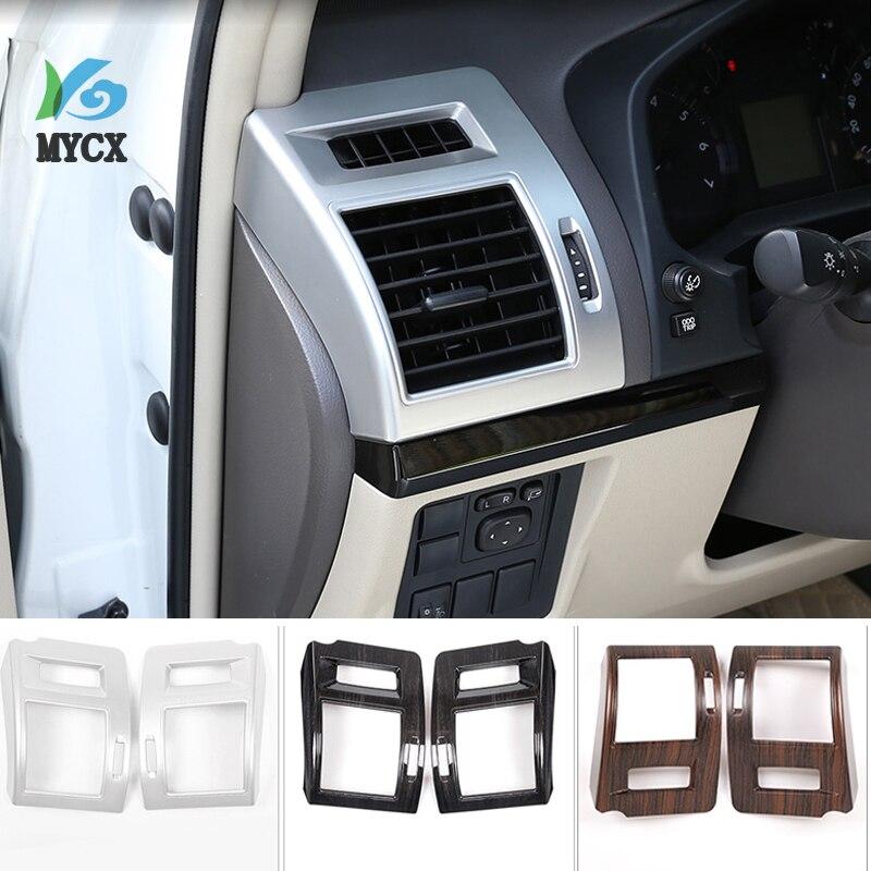 2 pièces pin bois Grain ABS Sid climatisation évent cadre garniture pour Toyota Land Cruiser Prado FJ150 150 2010-2018 voiture accessoires