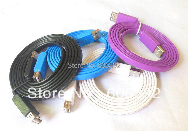 5pcs/lot Flat USB2.0 cable male to female 1.5m/3ft hot sale free shipping & drop shipping
