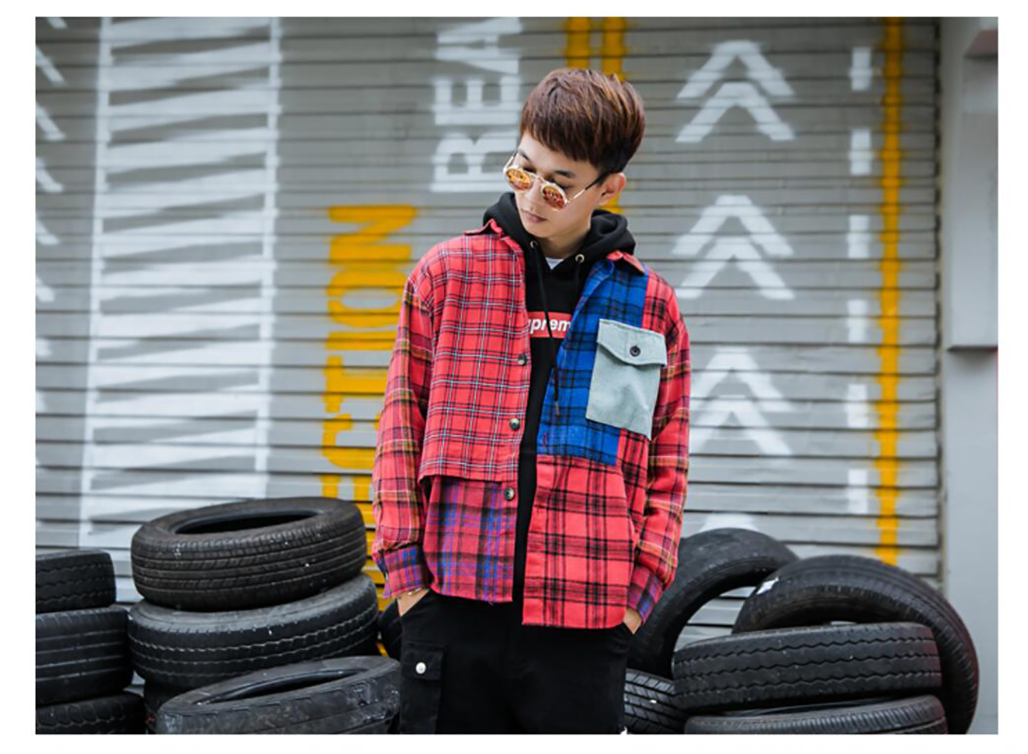 Men's Plaid Shirt Long Sleeve Shirts Streetwear Tops Hip Hop Personality Fashion For Youths Adolescents Boys Spring Autumn
