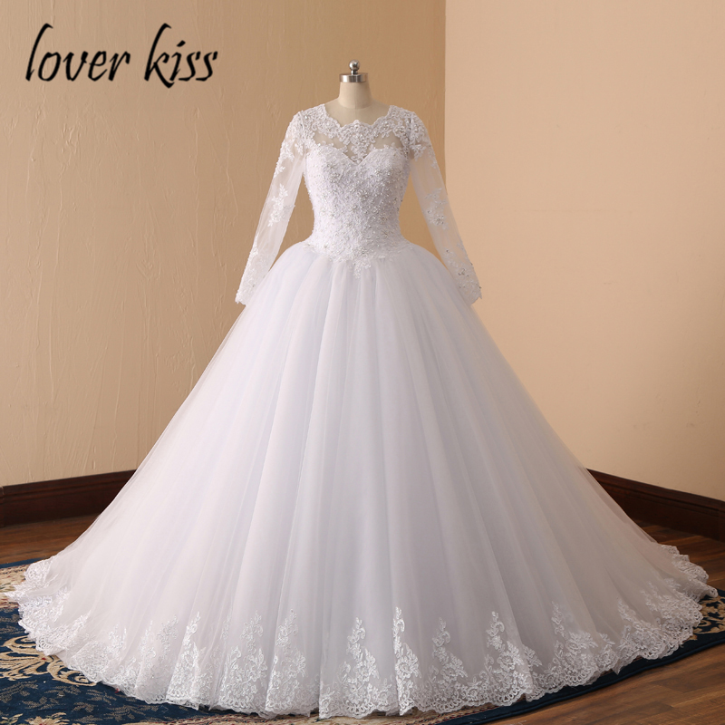Lover Kiss 2018 Long Sleeve Wedding Dress Ball Gown Pearls Bridal Gown Luxurious Wedding ...