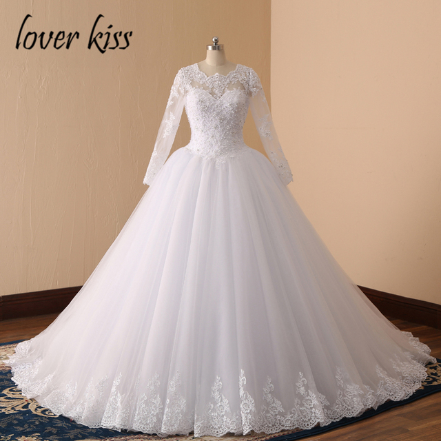 Lover Kiss 2019 Long Sleeve Wedding Dresses Pearls Bridal Gown Ball Lace Wedding Gowns Religion Caftan Mariage Vestidos De Noiva