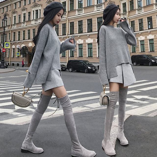 26760c0c5098a 2018 AUTUMN Winter 2 Pieces Sweater Dress Set Women Long Sleeve Office Wear  Casual Gray Pullover Knitted Dresses Clothing Suit