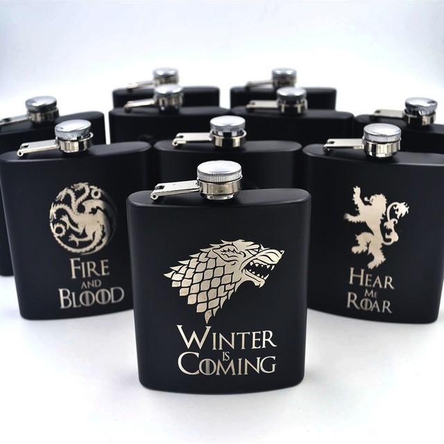 """Winter is Coming"" Hip Flask Laser Engraved"