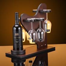 цена на Creative Harp style wood wine rack European fashion bar wine rack wine glass holder