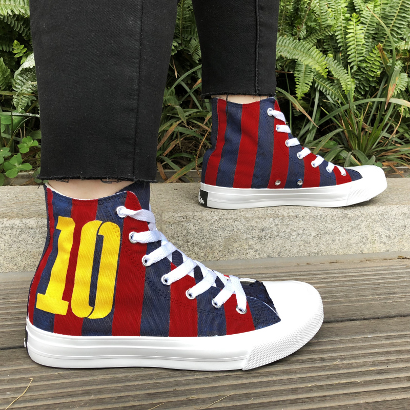 Wen Mens High Sneakers Soccer Football Number 10 Hand Painted Canvas Shoes Original Design Womens Plimsolls Lace up Espadrilles